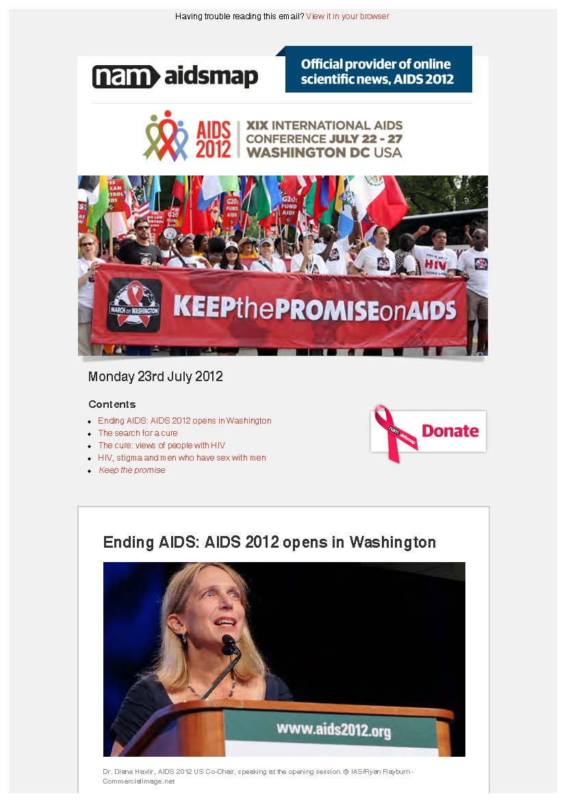 Monday 23rd July 2012: XIX International AIDS Conference