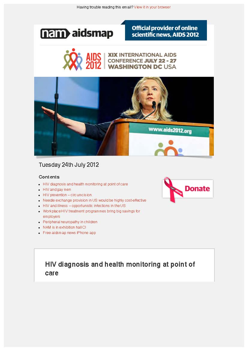 Tuesday 24th July 2012: XIX International AIDS Conference