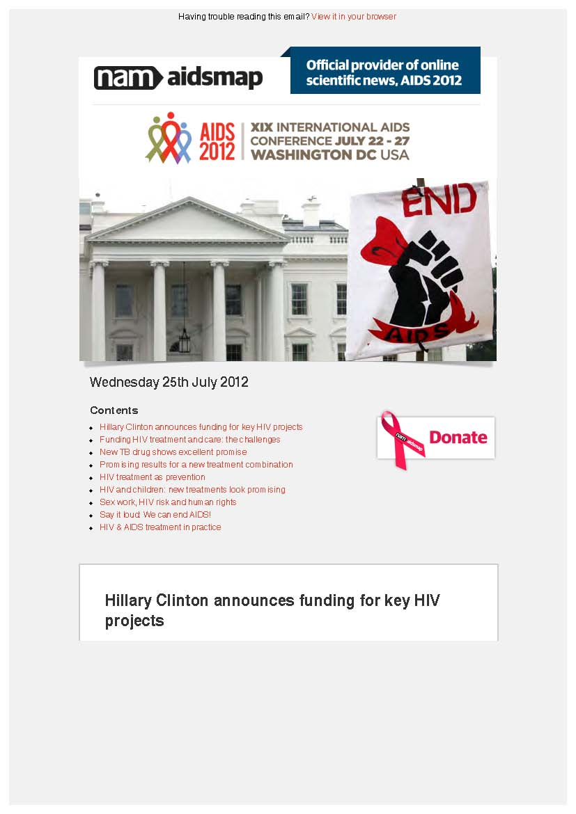 Wednesday 25th July 2012: XIX International AIDS Conference