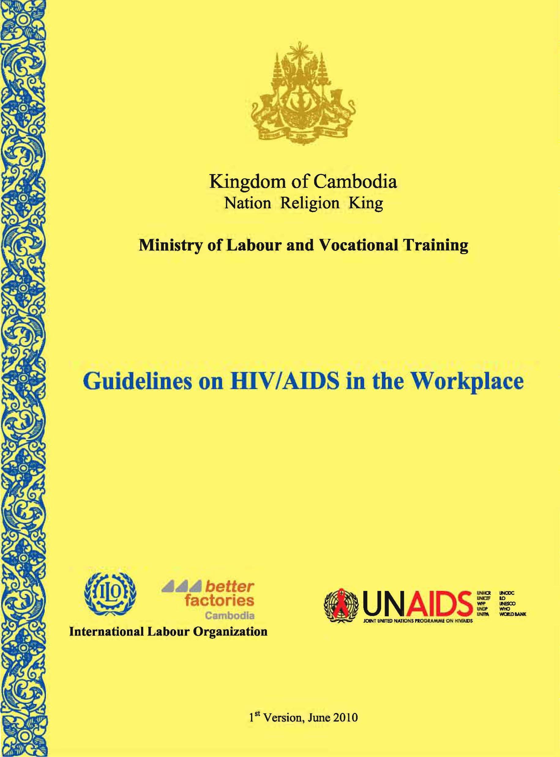 Guidelines on HIV/AIDS in the Workplace (English Language)
