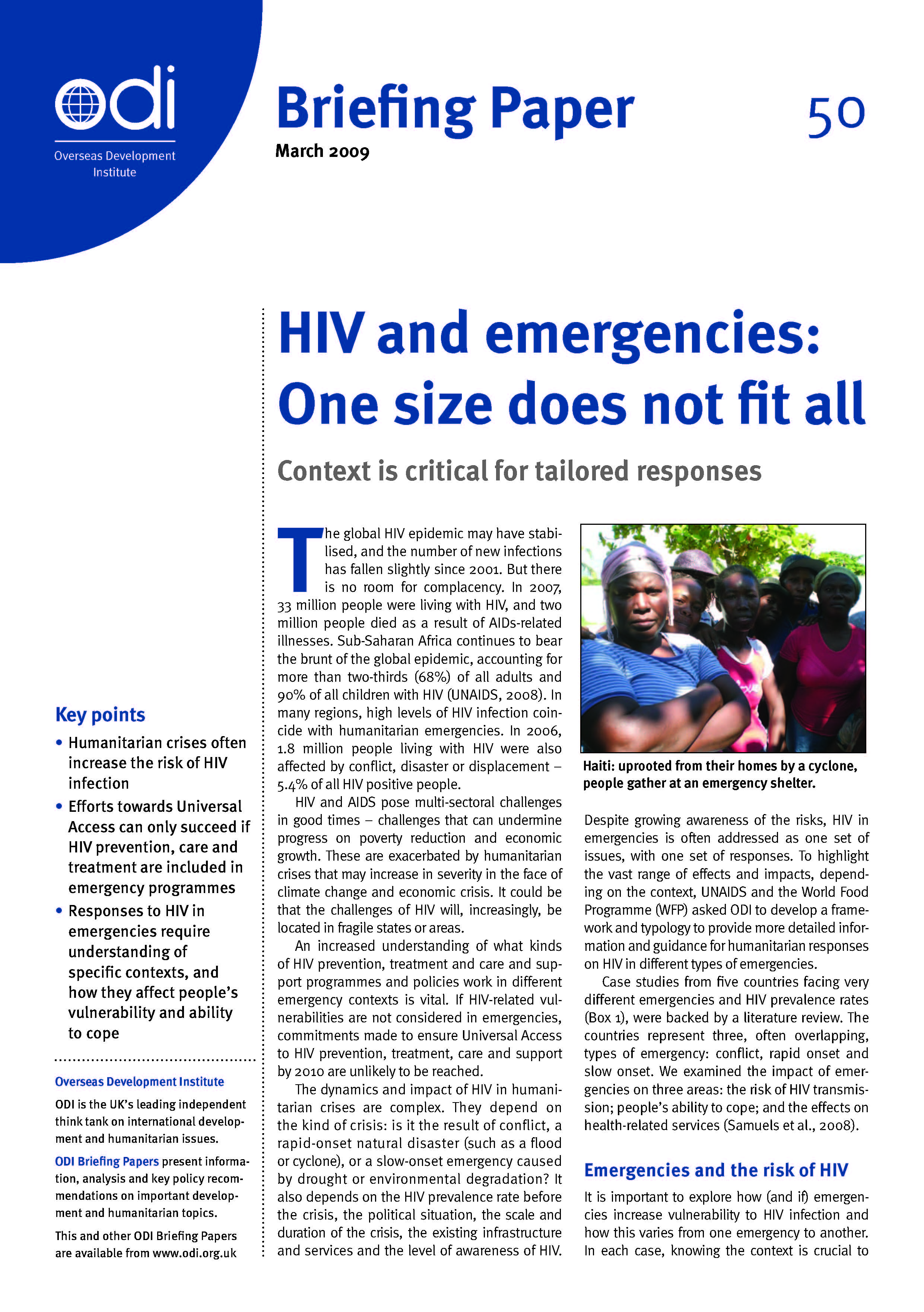 HIV and emergencies