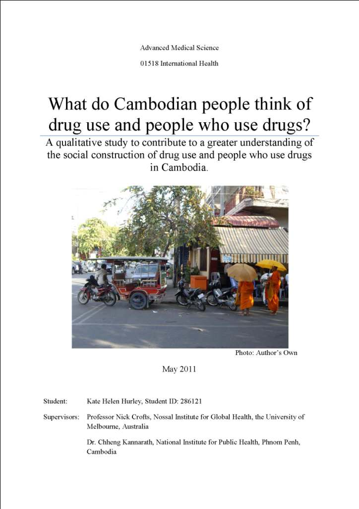What Do Cambodian People Think of Drug Use and People Who Use Drugs?