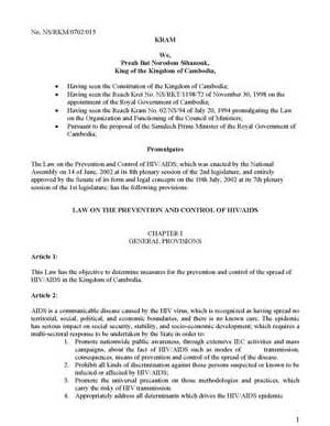 Law on HIV/AIDS Unofficial Translation