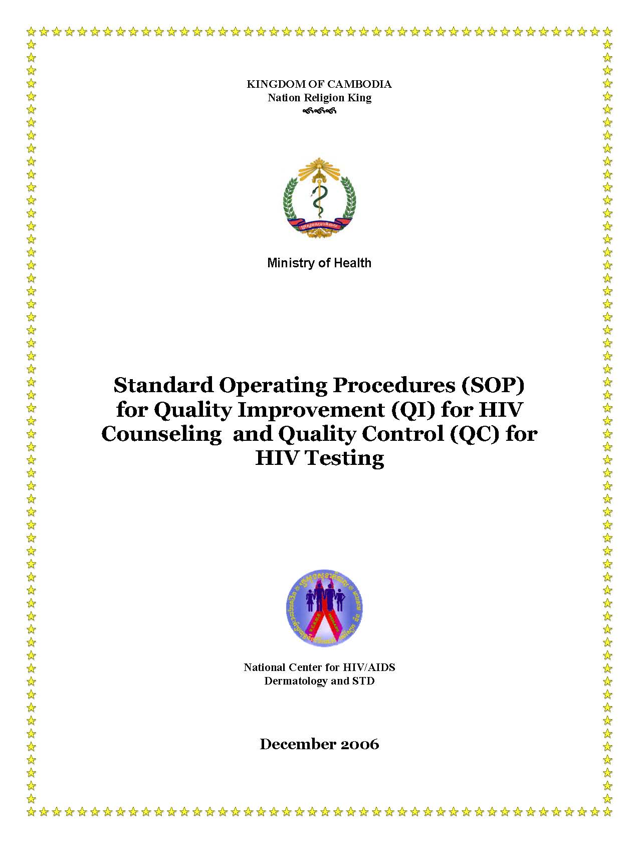 SOP for Quality Improvement for HIV Counseling and Quality Control for HIV Testing